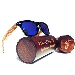 Zebrawood Sunglasses with Blue Lens and Wood Case